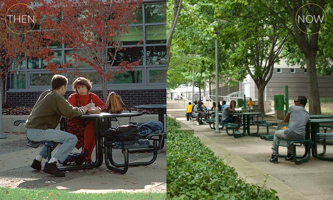 A side by side photo pf students int he Winnett Student Life Building courtyard. The left photo is from the 1990's with 2 students at a table. The right side photo shows the line of tables all occupied by students.