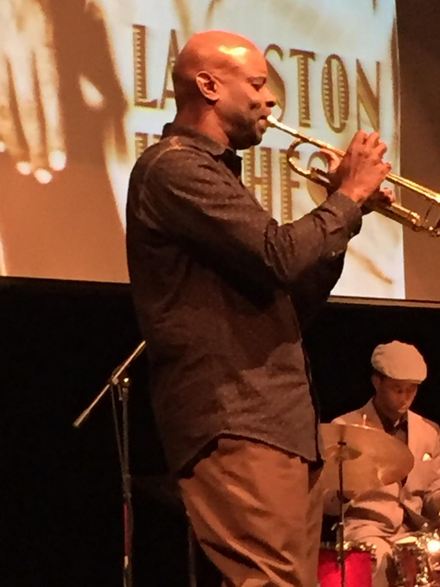 Dr. Ron McCurdy, a jazz musician and professor of music at the University of Southern California, pays tribute to the works of poet Langston Hughes in a multi-media performance.