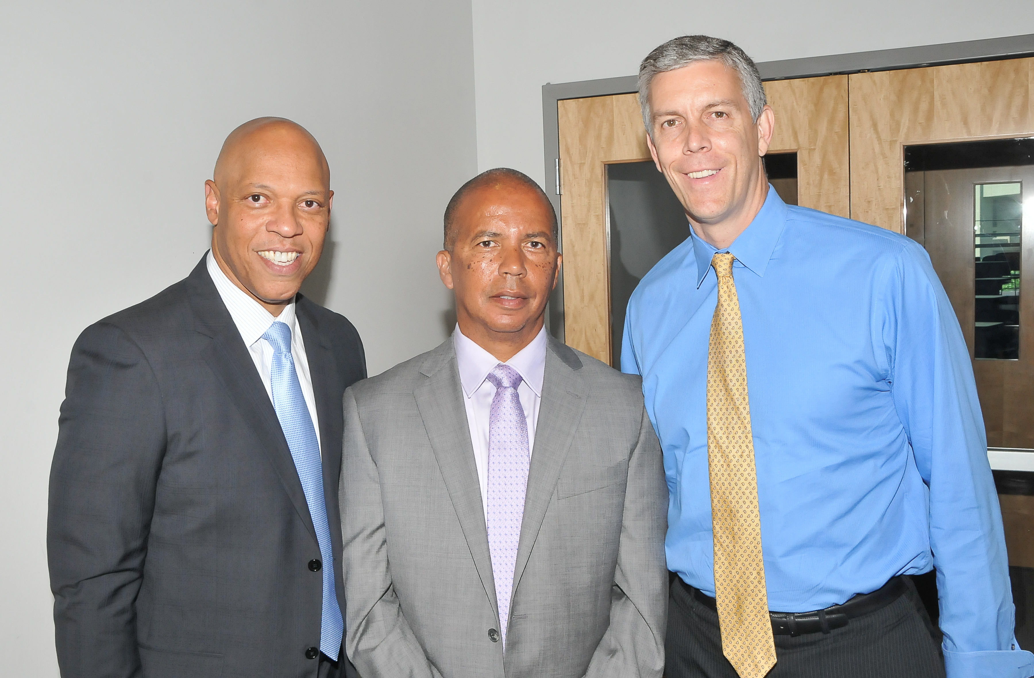 Left to right: Dr. William Hite, Jr., Dr. Donald Generals, Arne Duncan