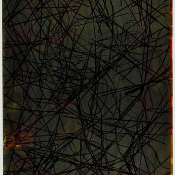 "Eugene Feldman Abstract Print, 1956 Lithograph — 35""H x 23""W Gift of Rosina Feldman"