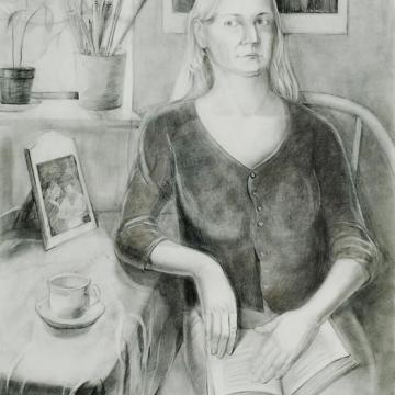 "Illona Saulioiene Self Portrait, 2001 Graphite on paper — 40""H x 32""W Founder's Award Student Purchase"