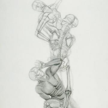 "Jennifer Moore Figure Analysis, 2001 Graphite on paper — 40""H x 26""W Founder's Award Student Purchase"