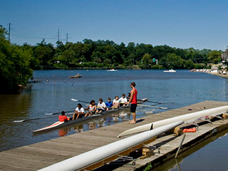 crew rowers on river