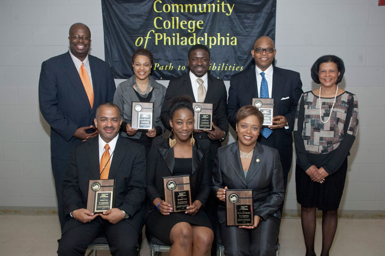 Seated, left to right: Michael Cruz, Shemaiah Clarke and the Honorable Cindy Bass. Standing, left to right: Chad Dion Lassiter, Community College of Philadelphia trustee, Pamela Rich-Wheeler, Alexander Peay and Rev. Clement M. Lupton, III.