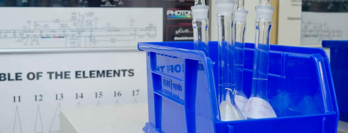Vials of fluid samples in a lab at Community College of Philadelphia.