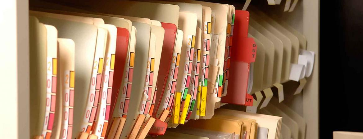 Medical files in office at Community College of Philadelphia.