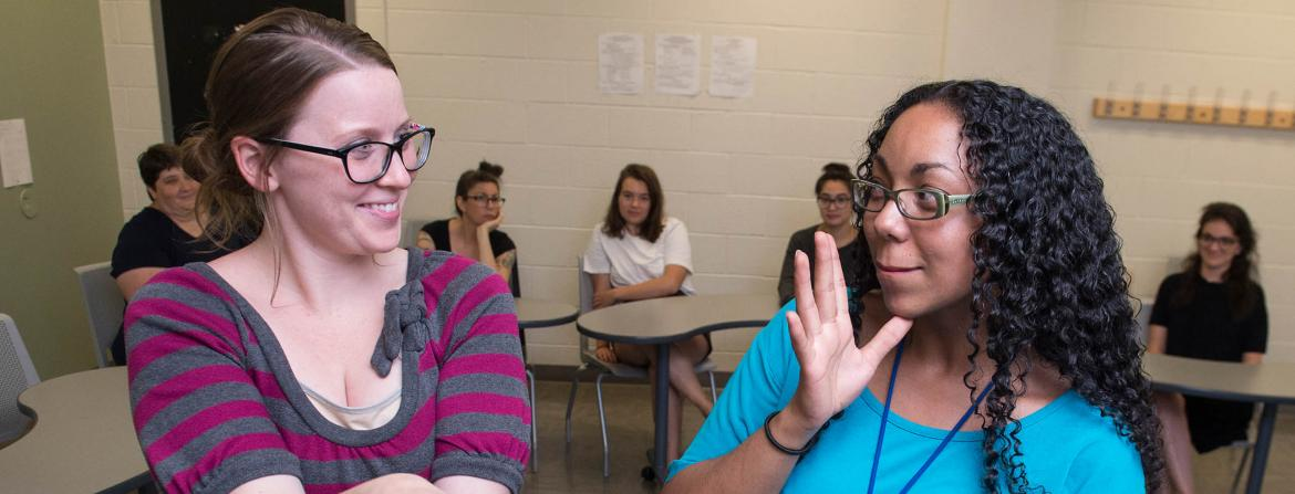 Students signing in CCP's ASL program.