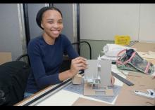Architecture student working in class at Community College of Philadelphia.