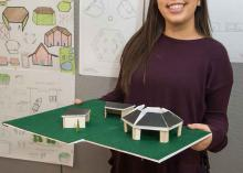CCP student holding design model in Architecture class.