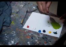 Paint easel in CCP art studio.