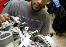 Automotive Technology student working in class at CCP.