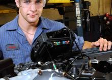 Automotive Technology student working in CCP garage.