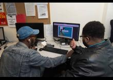 Students working at Community College of Philadelphia.