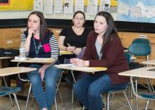 Students listening in class about early education at CCP.