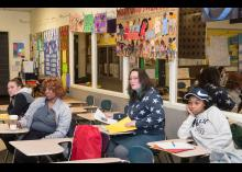 Students learning about early education at Community College of Philadelphia.