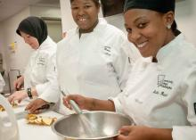 Students cooking in the Culinary Arts program at CCP.