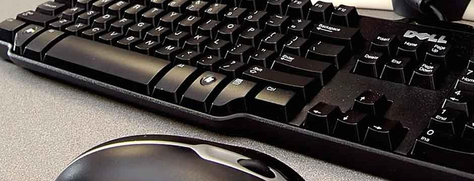 Close up of computer keyboard in a classroom at CCP.