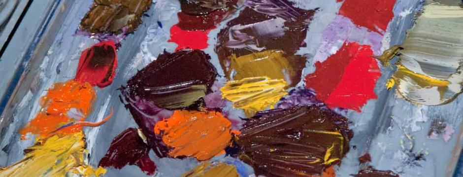 Artist paint pallet in a CCP art studio.