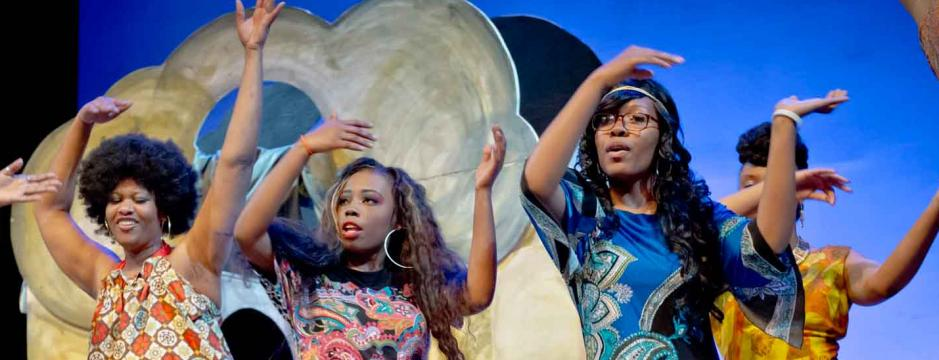 Students performing in musical at Community College of Philadelphia.