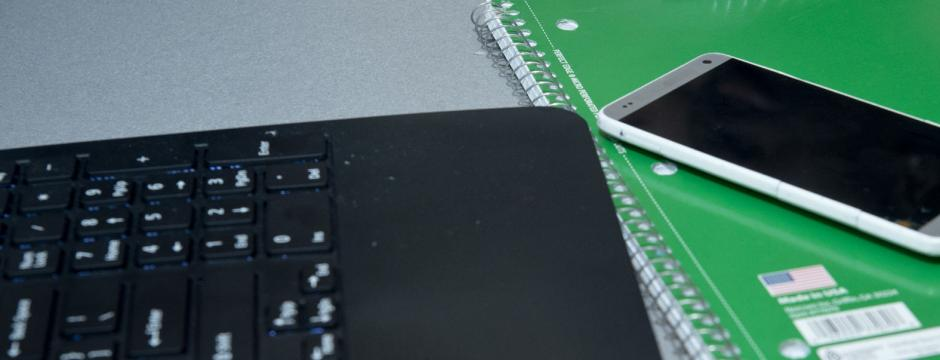 Keyboard and phone in class at Community College of Philadelphia.