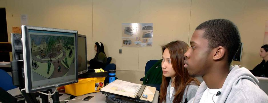 students using CAD software