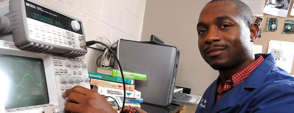 Student using equipment at Community College of Philadelphia.