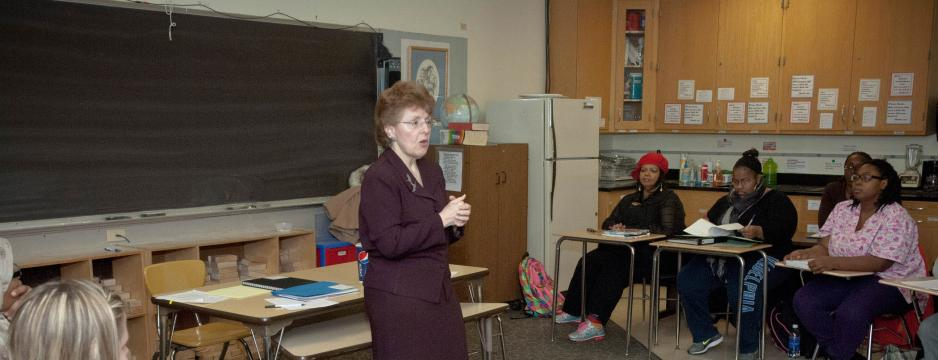 Teacher in youth education classroom at Community College of Philadelphia.