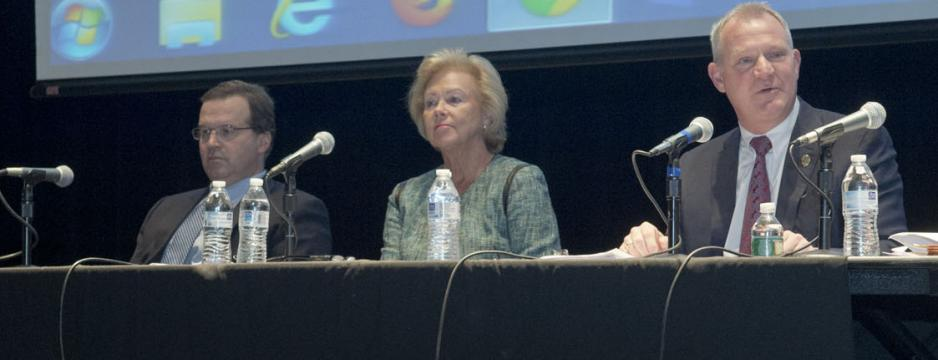 Panel of guests speaking at Law Society Week event at Community College of Philadelphia.